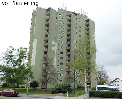 Hochhaus-Ensemble vor Sanierung, Komplettsanierung, Alucobond-Fassade, MACON BAU GmbH Magdeburg