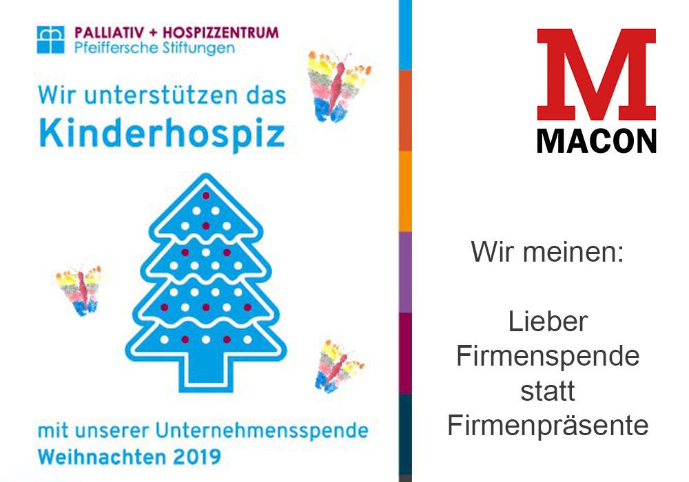 Firmenspende Kinderhospiz der Pfeifferschen Stiftungen, Weihnachten 2019, MACON BAU GmbH Magdeburg