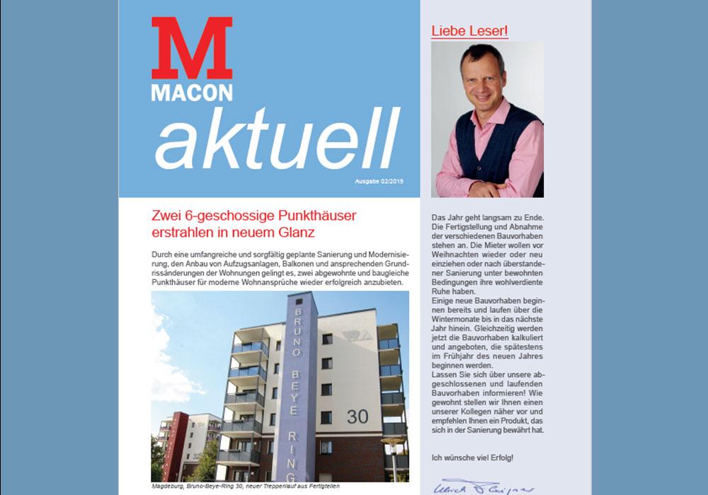 Firmenzeitschrift MACON aktuell 02/2019