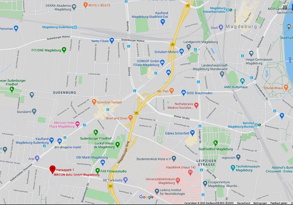 Neue Firmanadresse der MACON BAU GmbH Magdeburg: 39116 Magdeburg, Hansapark 1