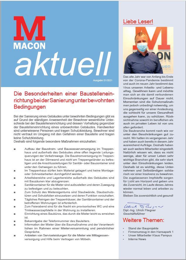 MACON-aktuell: Zeitung der MACON BAU GmbH Magdeburg